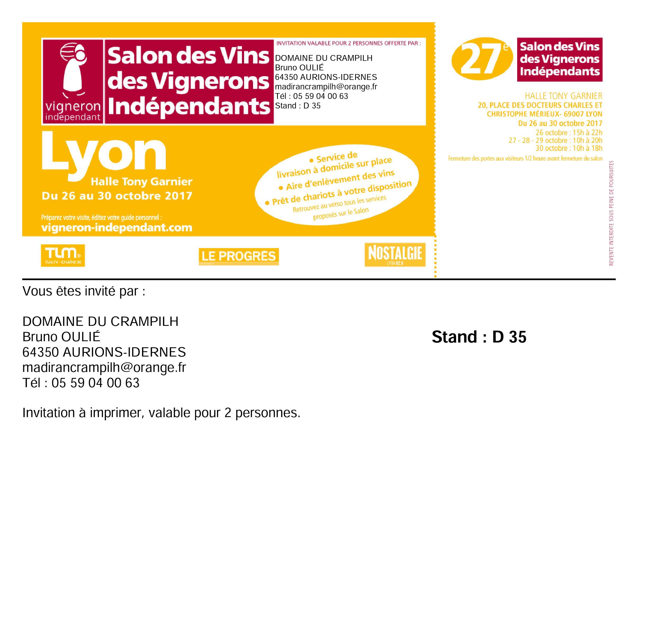 Domaine du crampilh - Salon des vignerons independants strasbourg ...